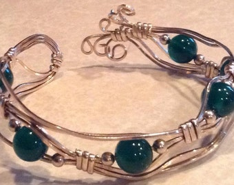 Sterling & Aventurine Wire Wrapped Bracelet