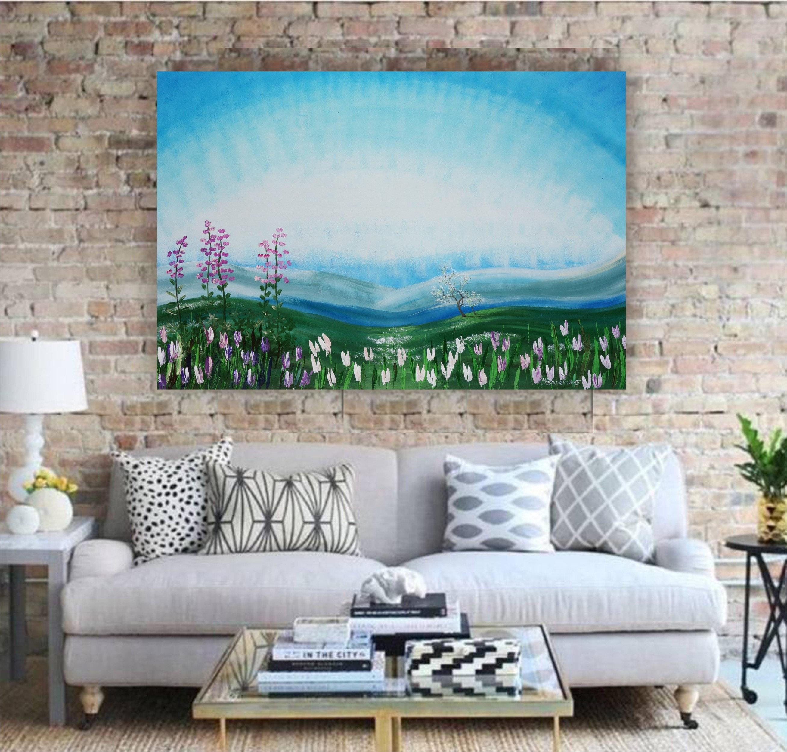 Frühling Malerei Großformat Kunst Romantisches Bild 110x160 cm