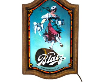 Vintage Blatz Beer Light Up Sign ca 1980s - Beer Advertisements - Milwaukee Wisconsin - Breweriana - Blatz Beer Girl Valerie - Dancing Girl