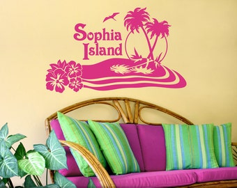 Tropical Decor, Personalized Vinyl Decal, Tropical Wall Art Decal, Custom Name Island Beach Vinyl Wall Art, Hibiscus, Palm Trees (0172bn)