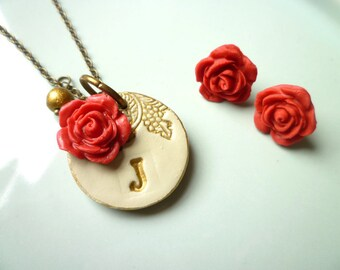 Bridesmaid Jewelry - Necklace and earring set  of  4