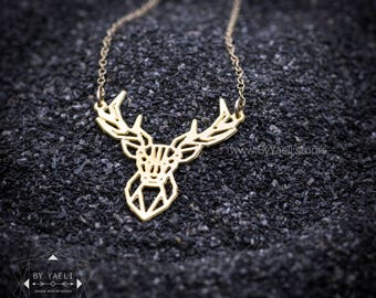 Geometric deer necklace, animal necklace, Deer antler necklace,  nature necklace, Christmas gift, everyday necklace, gift for her.