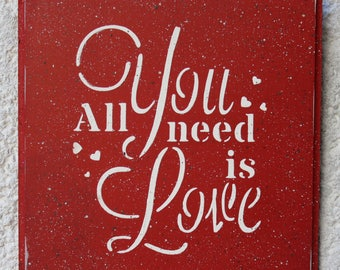 All You Need Is Love Sign Wall art Wall decor Miniature Make Believer Red-White Gift for Here Home decor Love Red Wall hanging Wedding gift