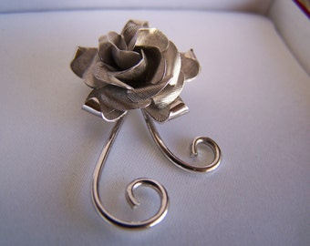 "Vintage 60's  ""STERLING SILVER ROSE"" Brooch / Pin  Beautiful"