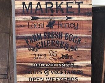 Gorgeous Reclaimed Mahogany Barn Wood Slat Wooden Farmer's Market Sign, Airbrushed graphic, Country farm house decor, rustic, kitchen
