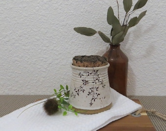 Mini Canister Storage Container - Handmade Stoneware Ceramic Pottery - White and Green Celadon - Vines  - 12 ounces