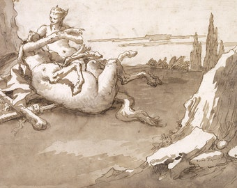 European Master Drawing Reproductions: Giovanni Battista Tiepolo.  A Centaur and a Fawn in a Landscape, c. 177. Fine Art Print.