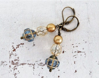 Blue Gold Moroccan Lantern Earrings Bohemian Style Earrings Denim Blue Metallic Gold Czech Glass Earrings Small Artisan Glass Earrings