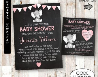 Long Distance Baby Shower Invitation, Long Distance Elephant Baby Shower Invitation, Baby Girl Long Distance Elephant Baby Shower Invitation