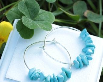 Turquoise Earrings,Sleeping Beauty Turquoise, Real Turquoise Earrings, Turquoise Jewelry, Sterling silver,Hoop Earrings,Gift for her