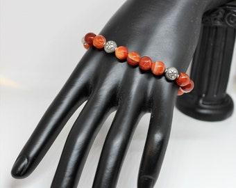 Beaded bracelet, agate bracelet, orange bracelet, gift for her, colorful bracelet, gift for mom