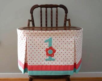 High Chair Skirt, First Birthday High Chair Banner, Coral/Turquoise High Chair Banner, First Birthday Girl, Flower Banner