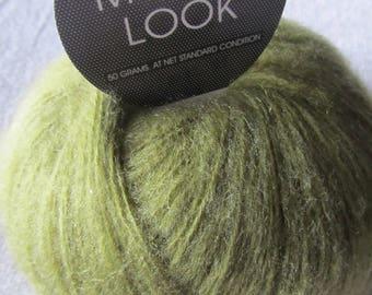 Mohair Look yarn in shades of Green Khaki - needles No. 7