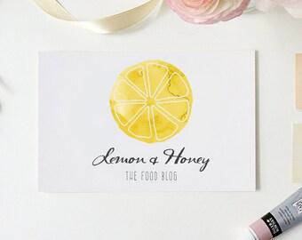 Pre-made Logo Design - Lemon Watercolor Yellow Logo - Food Blog - Logo Template for Branding -  Watercolor Logo - Premade Logo Design