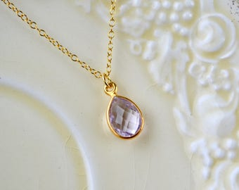 Pink Amethyst Necklace, Gold Vermeil Necklace Gift, Amethyst Pendant, Wife Necklace, Drop Pendant Necklace, Dainty Necklace Gemstone Pendant