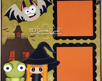 Halloween Witch Frog Bat Premade Scrapbook Page 12x12 Layout Paper Piece Handmade 65