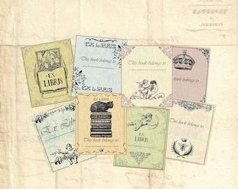 Digital Collage Sheet EX LIBRIS BOOKPLATES Printable Download Vintage ephemera paper goods scrapbooking Paper ex-libris Allegradigital