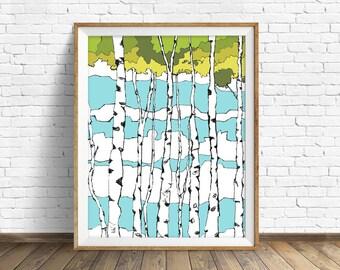 "quaking aspens, trees, art print, wall art, large wall art, large art, woodland nursery, modern, contemporary, nature art - ""Quaking Aspens"""