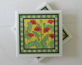 Red Poppy Drink Coasters-Set of 4