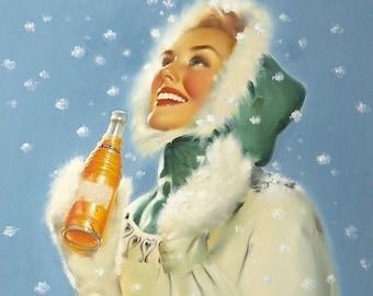 2 For 1 Sale! NESBITT'S  SODA PoP RUNCI Collection Ad Sign Art 50s Pop Pin-Up Orange Ad Illustrations and Pinups