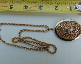 Vintage Gold Tone Locket On Chain