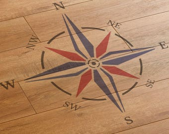CraftStar Nautical Compass Rose Stencil - Large Reusable Compass Stencil