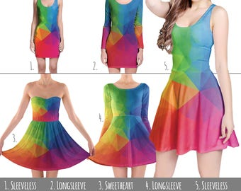 Rainbow Geometric Shapes - Dress in XS-3XL - Flared, Bodycon, or Skater Style 000542