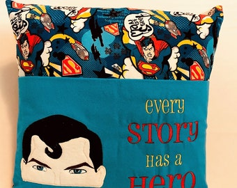 """16""""x16"""" Superman Inspired Reading Pillow - Books - Kids Gifts - Bedtime - Story Time"""