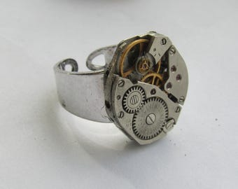 Statement Adjustable Watch Ring Gifts for women  Birthday gift ideas Clockwork Ring Industrial jewellery Gifts for Her Statement Jewellery