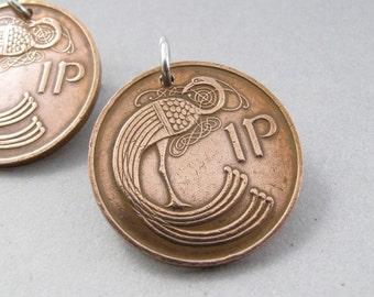 IRELAND COIN EARRINGS. Irish coin earrings. celtic coin earrings. bird coin earrings. Irish jewelry. Celtic earrings No.00297