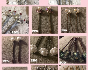 Hair Accessories Pin - Beaded Flower and Ivory Pearl Hair Pins (Set of 6)