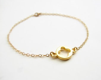 Matte Gold Plated Shamrock Bracelet ~ St Patrick's Day ~ 14K Gold Filled Chain. Everyday Jewelry. Bridesmaid Gift