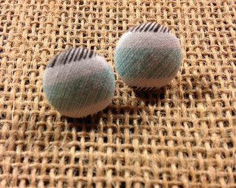 Horizontal Stripes - Fabric Button Earrings