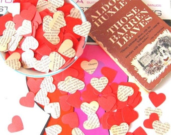 Those Barren Hearts 300 Red and Vintage Aldous Huxley Book Paper Heart Shaped Punches Confetti Embellishments Scrapbooking Ephemera Romantic