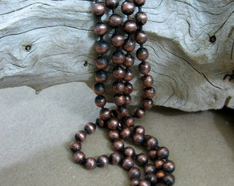 """Copper Ball Chain Oxidized 4.5mm Large Balls, Bulk Chain 6"""" to 10 Ft, connectors included"""