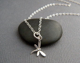 tiny dragonfly necklace. sterling silver dragon fly bug pendant. spirit animal totem. small insect simple jewelry. transformation charm 3/8""