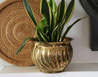 Vintage Brass Planter, Hollywood Regency, Boho, Home Decor, Swirl, MCM, Mid Century Modern,