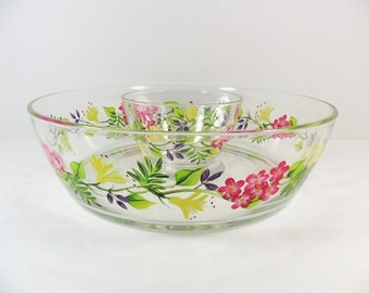 Chip and Dip Bowl Hand Painted Yellow Honeysuckle Pink Flowers