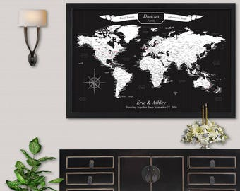Travel Sign Unique Engagement Gifts for Couple World Push Pin Map United States Map with Pins Detailed Travel Map Mounted Maps