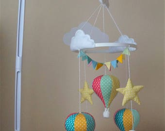 Design your own Hot air balloon musical baby mobile Polka dots