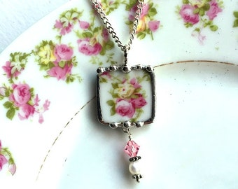 Dishfunctional Designs Broken China Jewelry, pendant necklace, antique pink roses, pearl crystal beads, recycled antique French china