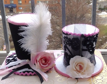 "Pair of 2 Felt Top Hats, Mad Hatter Tea Party Centerpiece (4.5"" & 5.5"" Tall) Mother's Day Tea, Alice in Wonderland Decorations, Baby Shower"