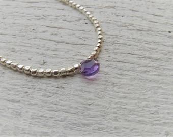 Amethyst and fine silver bracelet. Minimalist fine silver and amethyst bracelet. February birthstone.