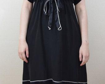 Vintage Next SILK beaded neck tie waist black and white dress long v-neck size 10 UK