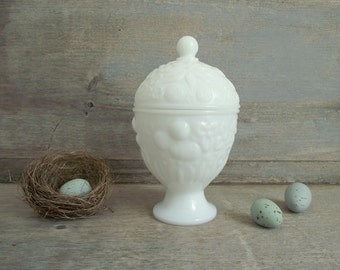 Avon Milk Glass Candy Dish , Lidded Vanity Jar , Vintage White Milk Glass , Pedestal Candy Dish , White Cottage Chic , Mothers Day Gift