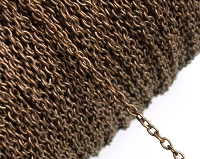 CLOSEOUT - Chain, Cable 3mm, Antique Copper - 25 Meters (CHIAC-CA30)