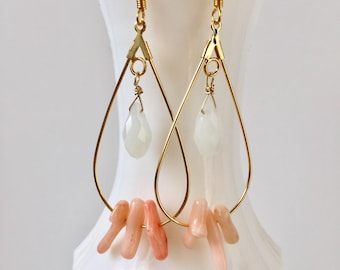 Gold Teardrop Hoop with Pink Coral/White Teardrop Earrings