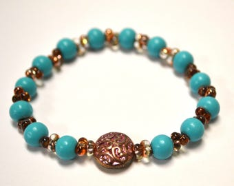 Blue Bracelet with Patina Bead or Disco Ball