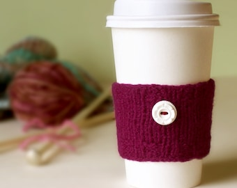 Coffee Cuff - Burgundy - Knitted & lightly felted cup cozy
