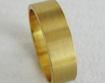 6mm Men's Gold Wedding Band | Flat Wedding Band | Eco friendly Recycled Gold | Brushed Finish Wedding Band 10k 14k 18k Gold Ring